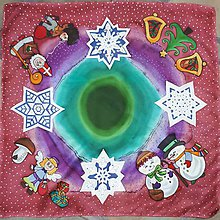 Šatky - Keď cinkajú rolničky- detská vianočná hodvábna šatka - 8825945_