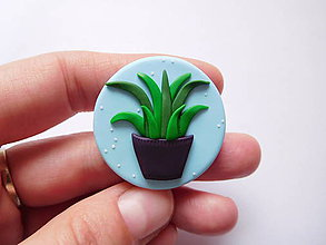Odznaky/Brošne - Brošňa izbová rastlina svetlá modrá - 8823498_