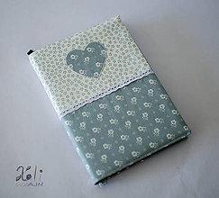 Papiernictvo - Obal na knihu kvetinkový šedý so srdiečkom - 8826699_