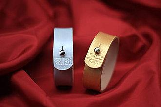 Náramky - Metalický dámsky kožený náramok 2cm - 8827170_