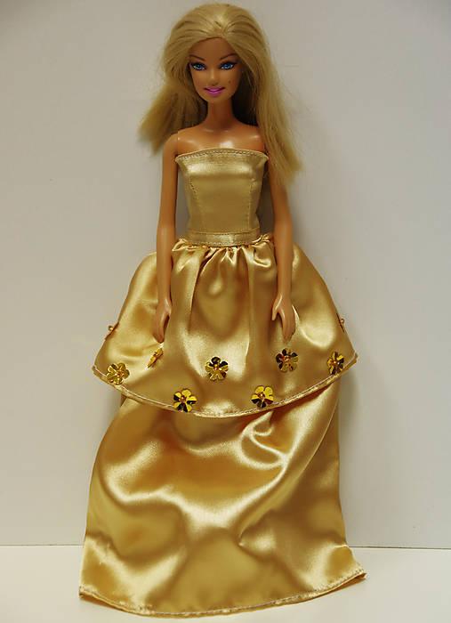 Zlaté večerné šaty pre Barbie   TrishaFate - SAShE.sk - Handmade Hračky e0aa5d74d85