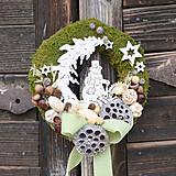 Dekorácie - Machový venček na dvere so snehuliakom - 8822854_