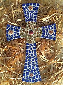 Dekorácie - Kríž modrý - 8825816_