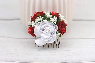 Ozdoby do vlasov - Hrebienok bielo-červený ruža - 8824094_
