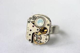 Prstene - Steampunkový prsteň a Swarovski - 8823773_