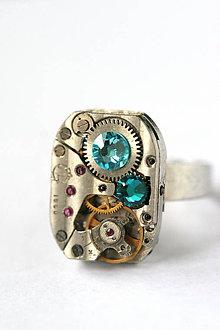 Prstene - Steampunkový prsteň a Swarovski - 8823992_