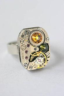 Prstene - Steampunkový prsteň a Swarovski - 8824251_