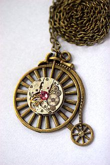 Náhrdelníky - Steampunkový náhrdelník Velocipéd - 8825890_