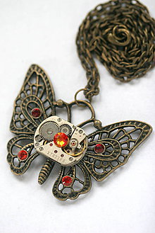 Náhrdelníky - Steampunkový náhrdelník Motýlik - 8825988_