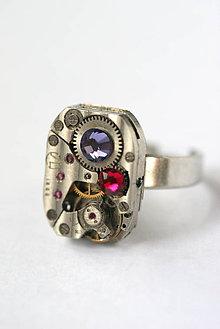 Prstene - Steampunkový prsteň a Swarovski - 8826159_