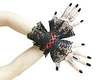 Gothic čierne náramky na ruky s čipkou a šnurovaním 0140-07