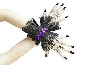 Náramky - Gothic čierne náramky na ruky s čipkou a šnurovaním 0140A - 8834008_