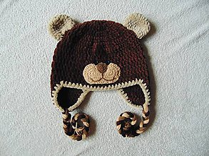 Detské čiapky - Plyšový medvedík- čokoládový :) - 8829657_