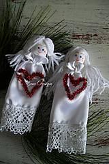 anjeliky saténové biele so srdcom