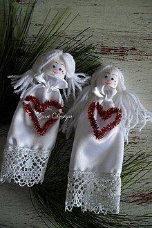 Dekorácie - anjeliky saténové biele so srdcom - 8829429_