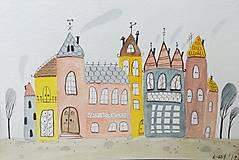 - Mesto 3 pohľadnica - ilustrácia obraz / originál maľba - 8830306_