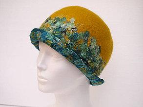 Čiapky - Klobúk s hodvábnou mozaikou, nunoplstenie, Merino vlna. - 8834130_