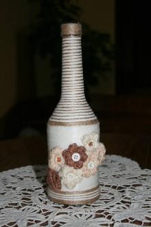Nádoby - Fľaša - puff háčkované kvety - 8833064_