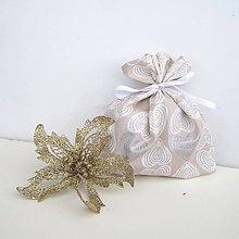 Úžitkový textil - Vianočné darčekové vrecúško - 8832875_