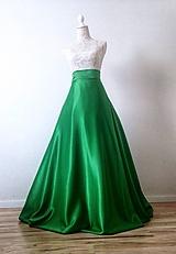 98952f28f508 Sukne - Saténová sukňa kruhová zelená - 8830892