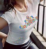 Tričká - Tričko dámske farebné folk kvety 03 - 8832178_