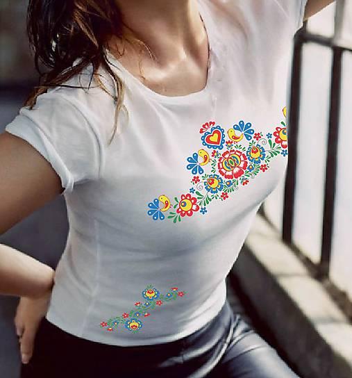 Tričko dámske farebné folk kvety 03