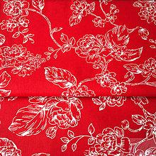 Textil - červené kvety, 100 % bavlna, šírka 140 cm, cena za 0,5 m - 8829584_