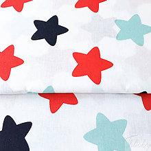 Textil - veľké farebné hviezdy, 100 % bavlna, šírka 140 cmm - 8830544_