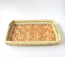 Nádoby - Obdĺžnikový pletený podnos z palmových listov - 8831024_