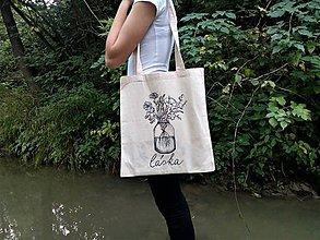 Nákupné tašky - Bavlnená taška - Láska - 8830326_
