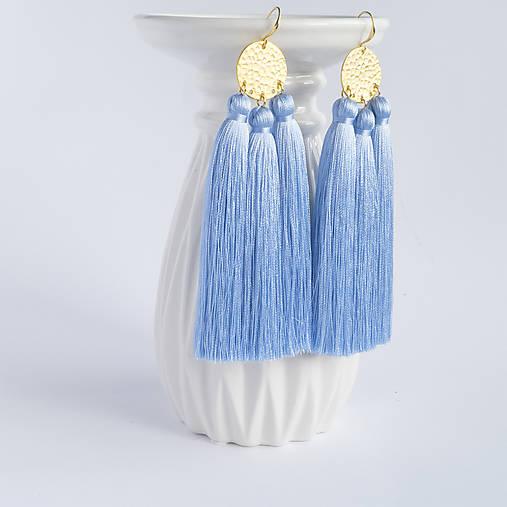 Nebesky modré náušnice so strapčekmi - pozlatená mosadz