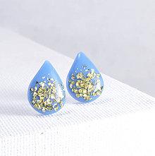 Náušnice - Nebesky modré napichovacie náušnice - kvapky - chirurgická oceľ - 8834304_