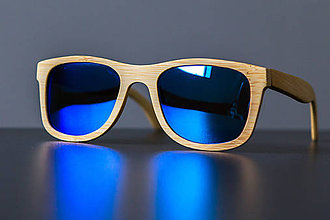 Iné doplnky - Drevené slnečné okuliare s dreveným púzdrom (Modrá) - 8832490_