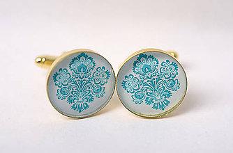 Šperky - manžetky ľudové modrotyrkysové zľava z 5 eur - 8833259_