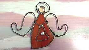 Dekorácie - Anjelik červený so zvončekom - 8830437_