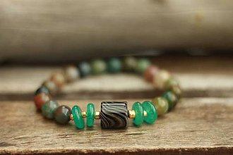 Náramky - Náramok z minerálu achát, jadeit - 8832770_