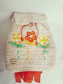 Batohy - Oranžový kvetinkový ruksačik - 8831289_