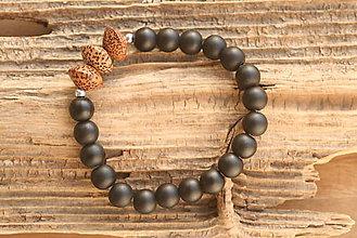 Šperky - Pánsky náramok onyx a drevo - 8837284_