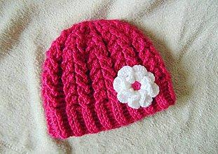 Detské čiapky - Ružová s kvetom :) - 8838342_