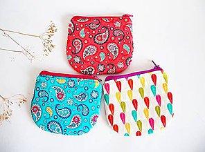 Peňaženky - Peňaženky - farebné (Peňaženka - kašmírový vzor - lososová) - 8837907_
