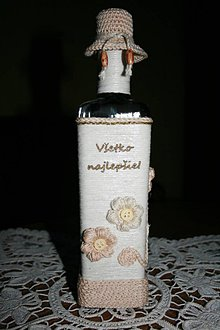 Nádoby - Fľaša - háčkované kvety - 8836697_