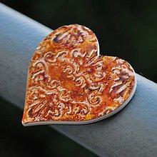Magnetky - Magnetka Srdce medené - 8836383_