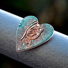 Magnetky - Magnetka Srdce vintage motýľ - 8836415_