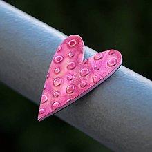 Magnetky - Magnetka Srdce ružové bodky - 8836420_