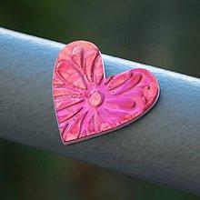 Magnetky - Magnetka Srdce ružový kvietok - 8836479_