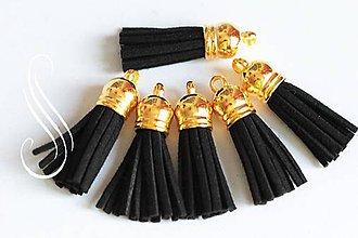 Polotovary - Strapec koženkový čierny / 1 ks - 8835685_