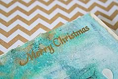 Papiernictvo - Tyrkysové Vianoce - mixed media pohľadnica so zlatým listom - 8837472_
