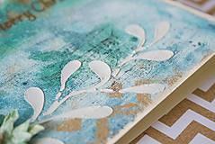 Papiernictvo - Tyrkysové Vianoce - mixed media pohľadnica so zlatým listom - 8837474_