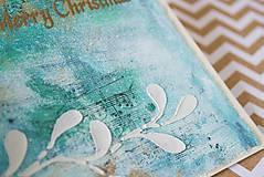 Papiernictvo - Tyrkysové Vianoce - mixed media pohľadnica so zlatým listom - 8837475_