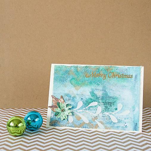 Tyrkysové Vianoce - mixed media pohľadnica so zlatým listom